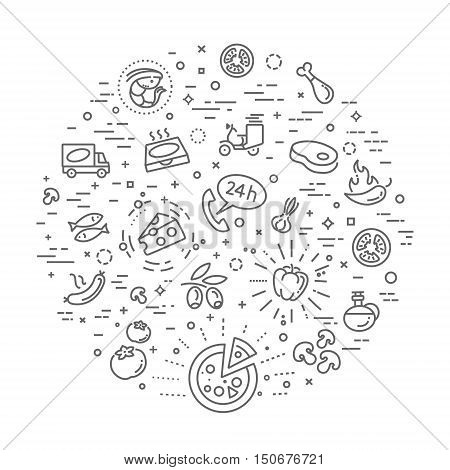 Italian traditional pizza vector outline icons set