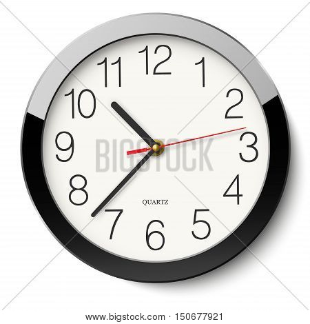 Round wall clock without divisions in black glossy body isolated on white