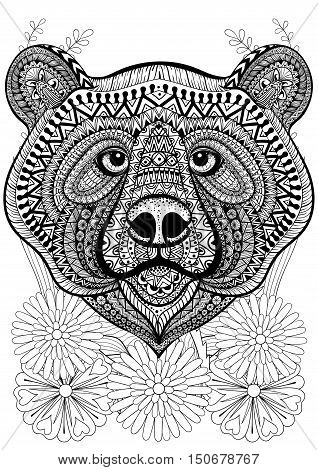 Zentangle stylized bear face on flowers. Hand drawn ethnic animal for adult coloring pages, art therapy, boho t-shirt patterned print, posters, t-shirt. Vector isolated illustration. A4 size.