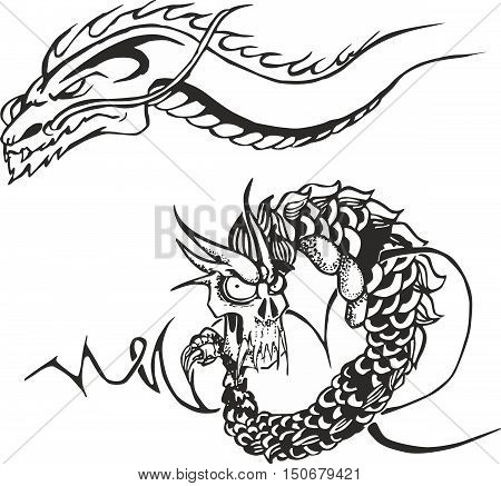 Set of two black and white sketches with powerful oriental japanese dragons for tribal tattoo stencils