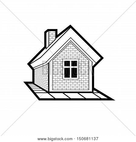 Simple mansion icon isolated on white background vector abstract house. Country house