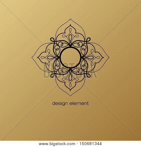 Vector design element. Template for creating logo icon symbol emblem monogram frame. Linear trend style. Illustration black pattern on gold background. Concept of unusual abstract luxury decor.