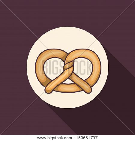 Pretzel icon. Bakery food daily and fresh theme. Purple background. Vector illustration