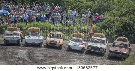 Rostov-on-Don Russia- June 052016: Car Race for survival on the Bizon Track Show.Spectators watch the preparations for the start