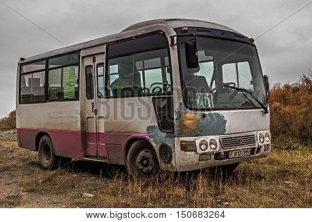 Kazakhstan, Ust-Kamenogorsk, october 5, 2016: Faw, city bus, public bus, chinese car, bus, old bus