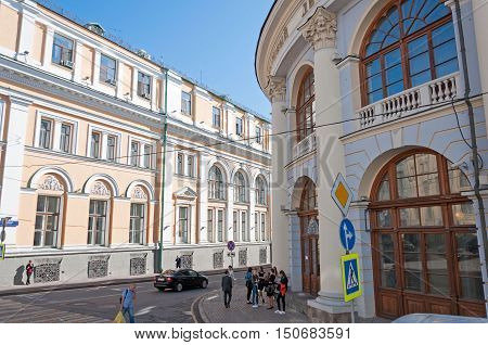 Moscow, Russia - 09.21.2015. General view of a fish alley near Gostiny Dvor