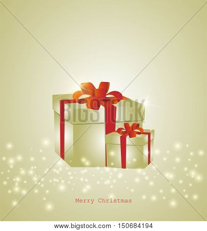 Happy Christmas vector Illustration card. Celebration background with gift box. Greeting card for Christmas and New Year.