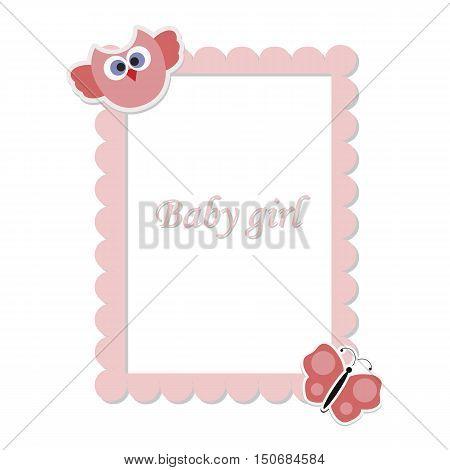 children's rectangular frame  for girls. Baby girl. template greeting or invitation. baby vector illustration. Baby shower or arrival