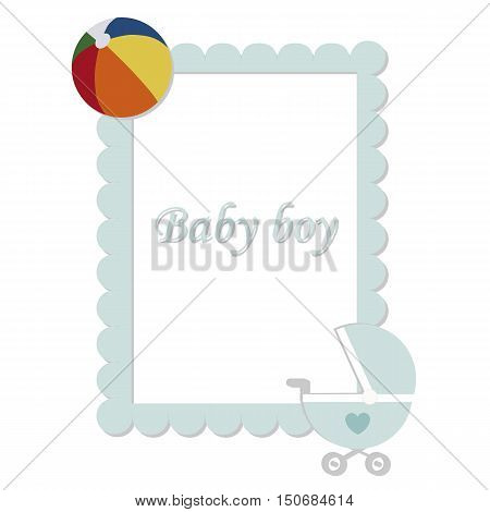baby vintage blue frame. Baby boy. template greeting or invitation. baby vector illustration. Baby shower or arrival