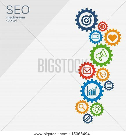 SEO mechanism concept. Abstract background with integrated gears and icons for strategy, digital, internet, network, connect, analytics, social media and global concepts. Vector infographi