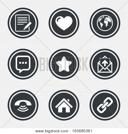 Mail, contact icons. Favorite, like and internet signs. E-mail, chat message and phone call symbols. Circle flat buttons with icons and border. Vector
