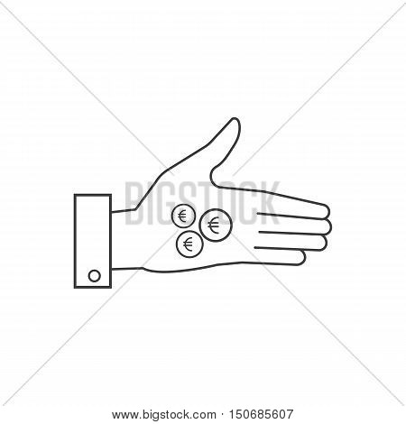 Vector Icons, Hand Holding Money Or Coins