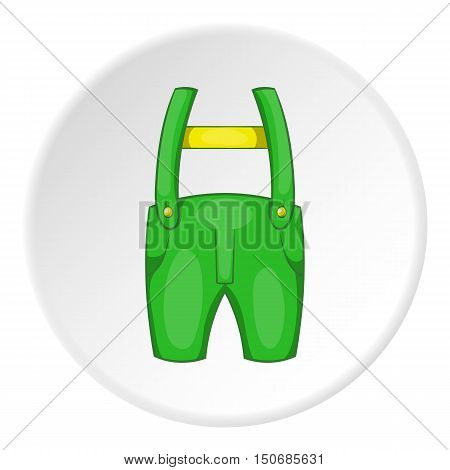 Pants with suspenders icon in cartoon style isolated on white circle background. Clothing symbol vector illustration