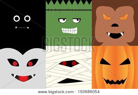 Halloween monsters' face illustrated in square photo; Bat, vampire, monster, Mummy, Wolfman, Pumpkin.