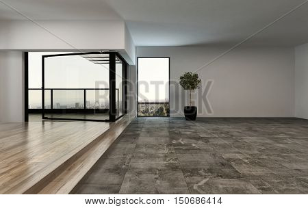 Unfurnished spacious open plan luxury apartment or penthouse with a stones tiled floor leading to elevated hardwood flooring and an outdoor patio overlooking a city, 3d rendering