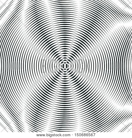 Striped background with black and white moire lines. Gradient optical pattern motion effect tile.