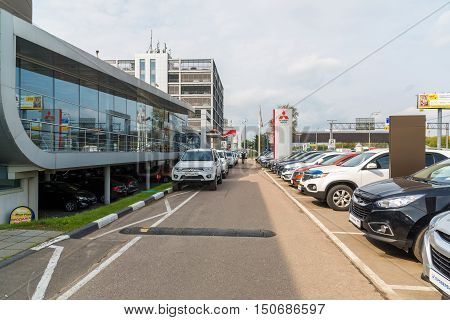 Khimki, Russia - September 12.2016. Car Dealer to sell a cars Hyunday and Mitsubishi