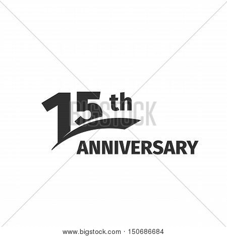 Isolated abstract black 15th anniversary logo on white background. 15 number logotype. Fifteen years jubilee celebration icon. Fifteenth birthday emblem. Vector anniversary illustration
