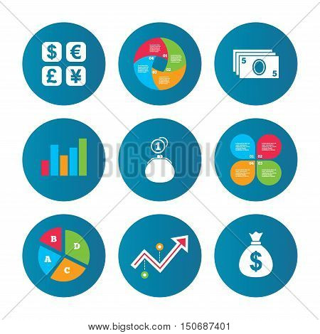 Business pie chart. Growth curve. Presentation buttons. Currency exchange icon. Cash money bag and wallet with coins signs. Dollar, euro, pound, yen symbols. Data analysis. Vector