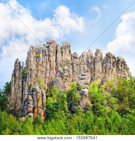 Amazing rock formation from sandstone towers in beautiful landscape. Sucha skala, Cesky Raj, Czech Paradise in Czech Republic, Central Europe. Wonders in european nature.