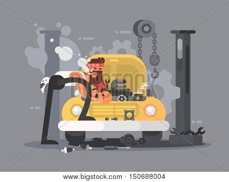 Man repair car in garage auto service. Vector flat illustration