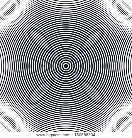 Striped psychedelic background with black and white moire lines. Gradient optical pattern motion effect tile.