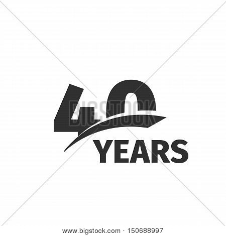 Isolated abstract black 40th anniversary logo on white background. 40 number logotype. Forty years jubilee celebration icon. Fortieth birthday emblem. Vector anniversary illustration