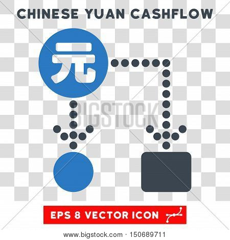 Vector Chinese Yuan Cashflow EPS vector pictogram. Illustration style is flat iconic bicolor smooth blue symbol on a transparent background.