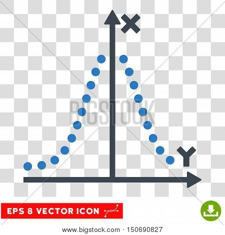 Vector Gauss Plot EPS vector icon. Illustration style is flat iconic bicolor smooth blue symbol on a transparent background.