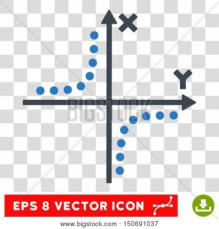 Vector Hyperbola Plot EPS vector pictogram. Illustration style is flat iconic bicolor smooth blue symbol on a transparent background.