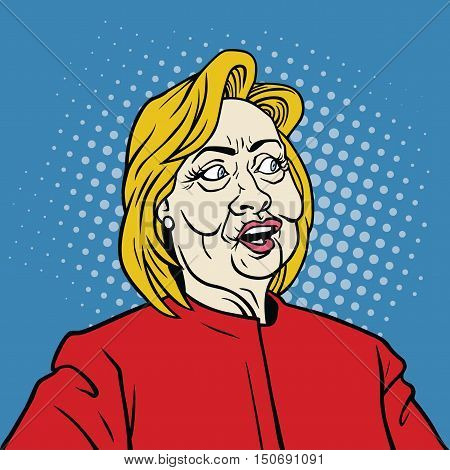 October 7, 2016: Hillary Clinton Pop Art Portrait Vector