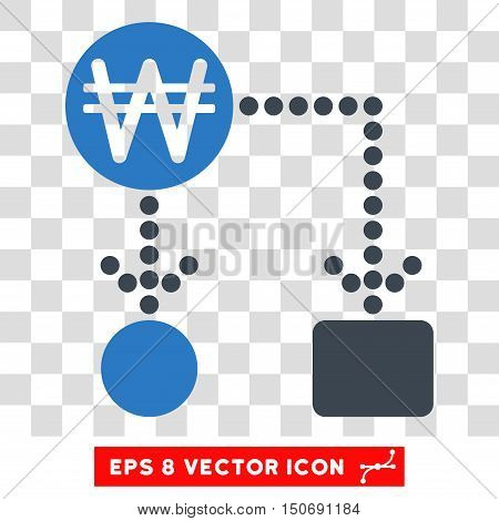 Vector Korean Won Cashflow EPS vector pictograph. Illustration style is flat iconic bicolor smooth blue symbol on a transparent background.