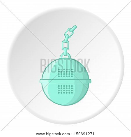 Round tea strainer icon in cartoon style isolated on white circle background. Tool symbol vector illustration