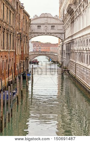 Photo of the Bridge of Sighs (Ponte dei Sospiri ) in Venice (Italy). Edited as a vintage photo.