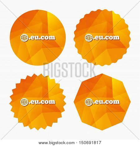 Domain EU.COM sign icon. Internet subdomain symbol with globe. Triangular low poly buttons with flat icon. Vector