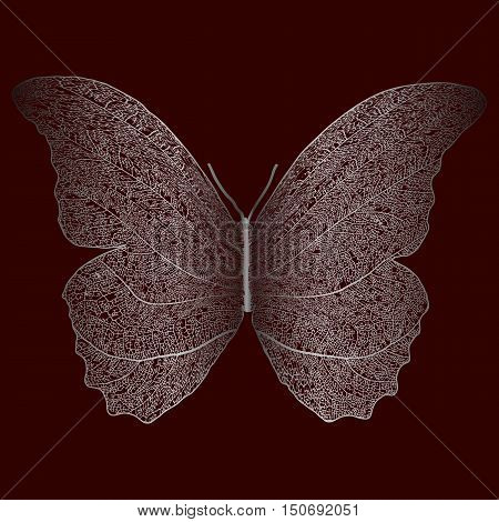 Skeleton silver butterfly combined with dry leaf