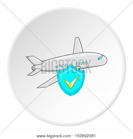 Safety in air travel icon in cartoon style isolated on white circle background. Flights symbol vector illustration
