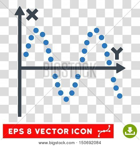 Vector Sine Plot EPS vector pictogram. Illustration style is flat iconic bicolor smooth blue symbol on a transparent background.