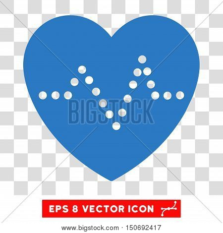 Vector Heart Pulse EPS vector pictograph. Illustration style is flat iconic smooth blue symbol on a transparent background.