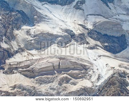 Beautiful ice seracs in a Caucasian mountains