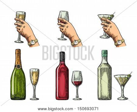 Set alcohol drinks with bottle glass and hand holding cocktail wine champagne. Vintage color vector engraving illustration for label poster invitation to party. Isolated on white background