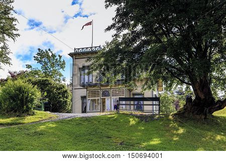 TROLDHAUGEN, NORWAY - JULY 3, 2016: Manor of Edvard Grieg is a small cozy house where composer and his wife carried out the warmer seasons - spring and summer.