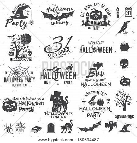 Set of Halloween party concept and design elements. Halloween party retro templates badges seals patches. Concept for shirt or logo print stamp. Typography design- stock vector.