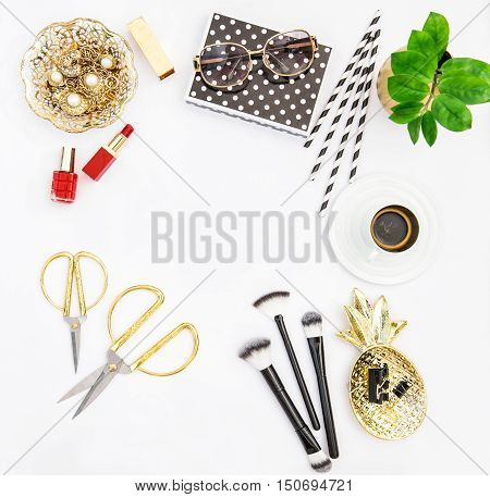 Fashion accessories cosmetics coffee and green plant. Flat lay for feminine website bloggers social media