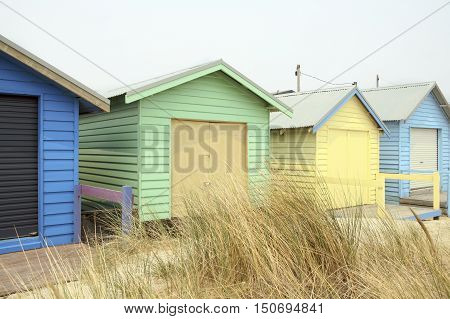 Colorful Beach Huts at Brighton Beach near Melbourne, Australia