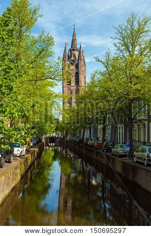 The Building Of The Old Church  (oude Kek) In Delft, Netherlands