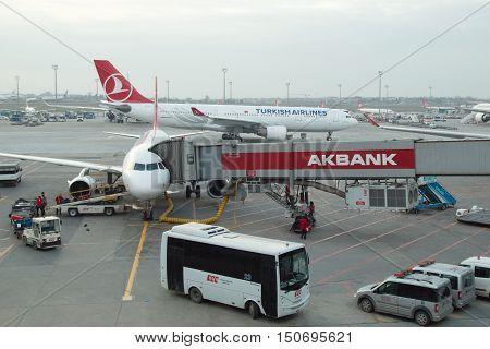 Istanbul, Turkey - January 29, 2016: Turkish Airlines аirplanes Boarding At Istanbul Ataturk Airport
