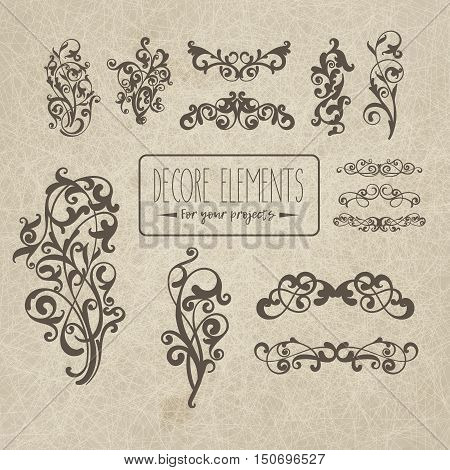 Set of decor elements on grange background for your design projects