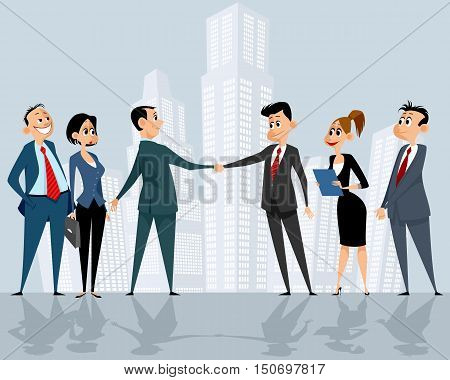 Vector illustration of a businessteams leaders handshake