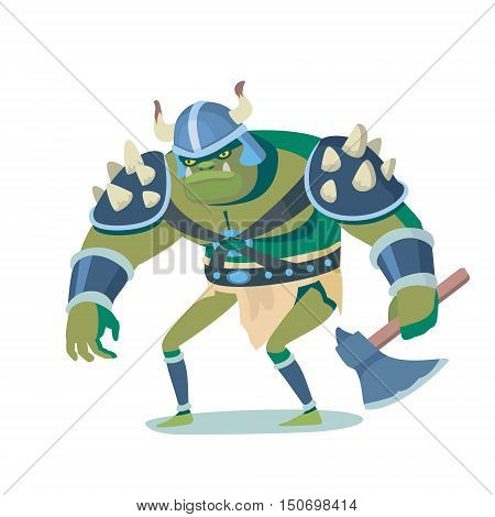 Ork cartoon illustration caracter. Funny colorful picture in vector, angry goblin for game, movie and print advertising.